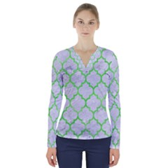 Tile1 (r) White Marble & Green Watercolor V Neck Long Sleeve Top
