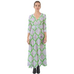 Tile1 (r) White Marble & Green Watercolor Button Up Boho Maxi Dress