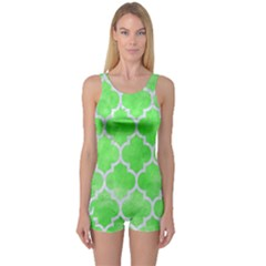 Tile1 White Marble & Green Watercolor One Piece Boyleg Swimsuit