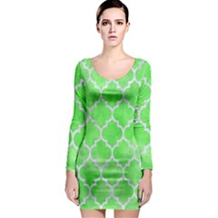 Tile1 White Marble & Green Watercolor Long Sleeve Bodycon Dress
