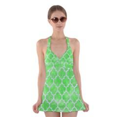 Tile1 White Marble & Green Watercolor Halter Dress Swimsuit