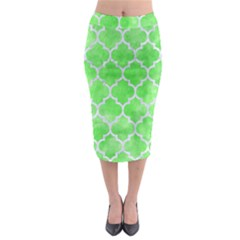 Tile1 White Marble & Green Watercolor Midi Pencil Skirt