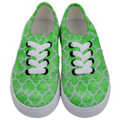 Tile1 White Marble & Green Watercolor Kids  Classic Low Top Sneakers