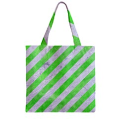 Stripes3 White Marble & Green Watercolor (r) Zipper Grocery Tote Bag