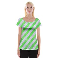 Stripes3 White Marble & Green Watercolor (r) Cap Sleeve Tops