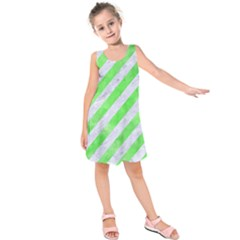 Stripes3 White Marble & Green Watercolor (r) Kids  Sleeveless Dress