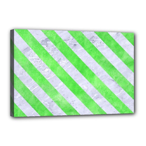 Stripes3 White Marble & Green Watercolor Canvas 18  X 12