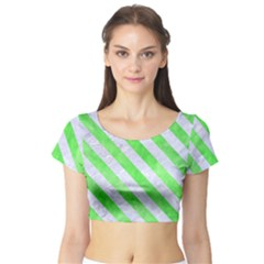 Stripes3 White Marble & Green Watercolor Short Sleeve Crop Top