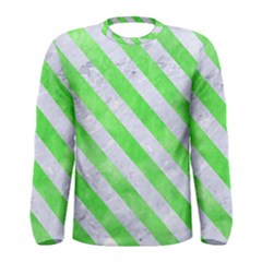 Stripes3 White Marble & Green Watercolor Men s Long Sleeve Tee