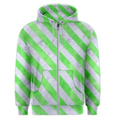 Stripes3 White Marble & Green Watercolor Men s Zipper Hoodie