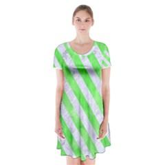 Stripes3 White Marble & Green Watercolor Short Sleeve V Neck Flare Dress