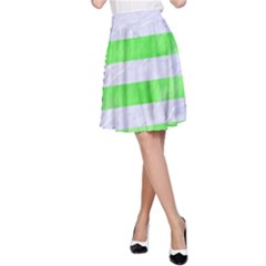Stripes2 White Marble & Green Watercolor A Line Skirt