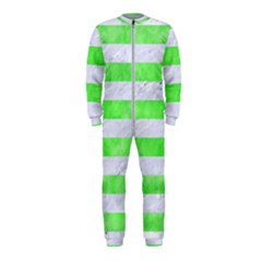 Stripes2 White Marble & Green Watercolor Onepiece Jumpsuit (kids)