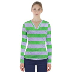 Stripes2 White Marble & Green Watercolor V Neck Long Sleeve Top
