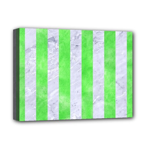 Stripes1 White Marble & Green Watercolor Deluxe Canvas 16  X 12