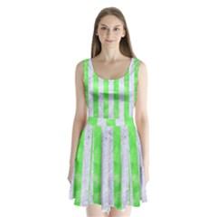 Stripes1 White Marble & Green Watercolor Split Back Mini Dress