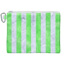 Stripes1 White Marble & Green Watercolor Canvas Cosmetic Bag (xxl)
