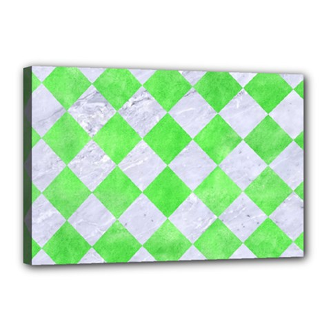 Square2 White Marble & Green Watercolor Canvas 18  X 12