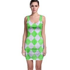 Square2 White Marble & Green Watercolor Bodycon Dress