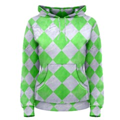 Square2 White Marble & Green Watercolor Women s Pullover Hoodie