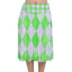 Square2 White Marble & Green Watercolor Velvet Flared Midi Skirt