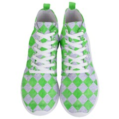 Square2 White Marble & Green Watercolor Men s Lightweight High Top Sneakers