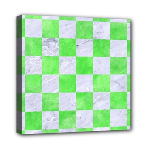 Square1 White Marble & Green Watercolor Mini Canvas 8  X 8