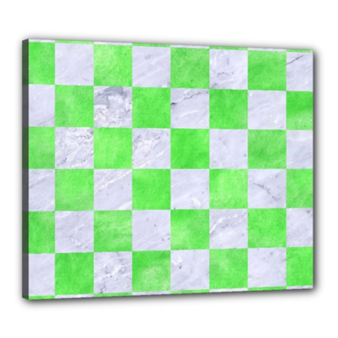 Square1 White Marble & Green Watercolor Canvas 24  X 20