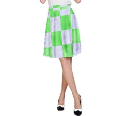 Square1 White Marble & Green Watercolor A Line Skirt