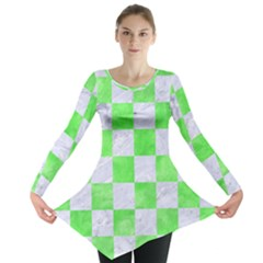 Square1 White Marble & Green Watercolor Long Sleeve Tunic