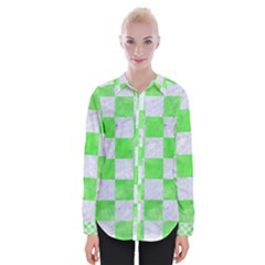 Square1 White Marble & Green Watercolor Womens Long Sleeve Shirt