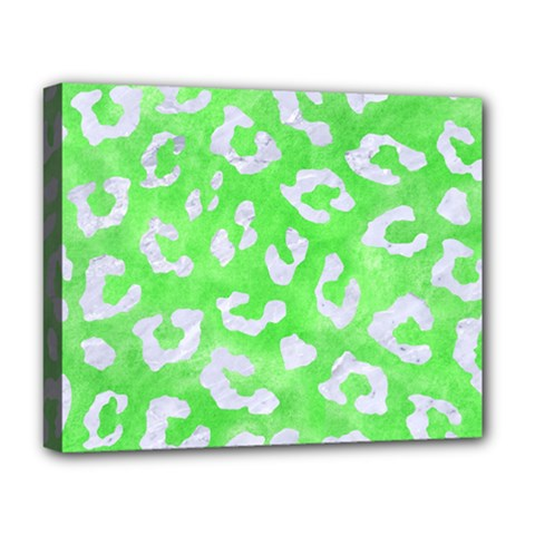 Skin5 White Marble & Green Watercolor (r) Deluxe Canvas 20  X 16   by trendistuff
