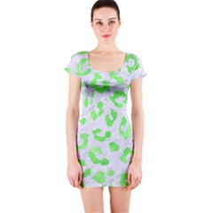 Skin5 White Marble & Green Watercolor Short Sleeve Bodycon Dress