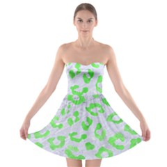 Skin5 White Marble & Green Watercolor Strapless Bra Top Dress