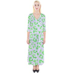 Skin5 White Marble & Green Watercolor Quarter Sleeve Wrap Maxi Dress