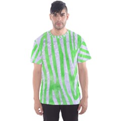 Skin4 White Marble & Green Watercolor (r) Men s Sports Mesh Tee