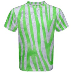 Skin4 White Marble & Green Watercolor (r) Men s Cotton Tee