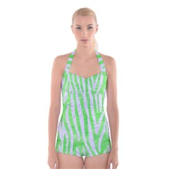 Skin4 White Marble & Green Watercolor (r) Boyleg Halter Swimsuit