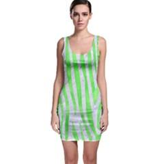 Skin4 White Marble & Green Watercolor Bodycon Dress