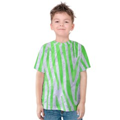 Skin4 White Marble & Green Watercolor Kids  Cotton Tee