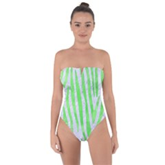 Skin4 White Marble & Green Watercolor Tie Back One Piece Swimsuit