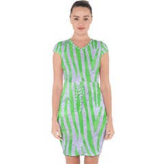 Skin4 White Marble & Green Watercolor Capsleeve Drawstring Dress