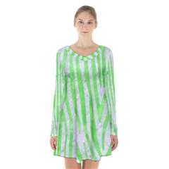 Skin4 White Marble & Green Watercolor Long Sleeve Velvet V Neck Dress