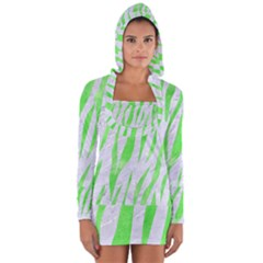 Skin3 White Marble & Green Watercolor (r) Long Sleeve Hooded T Shirt