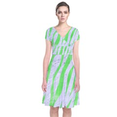 Skin3 White Marble & Green Watercolor (r) Short Sleeve Front Wrap Dress