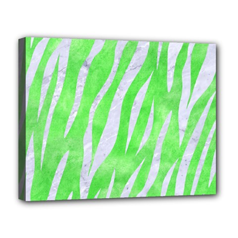 Skin3 White Marble & Green Watercolor Canvas 14  X 11