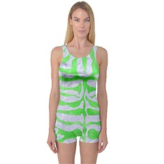 Skin2 White Marble & Green Watercolor (r) One Piece Boyleg Swimsuit