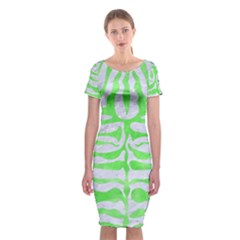Skin2 White Marble & Green Watercolor (r) Classic Short Sleeve Midi Dress