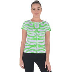 Skin2 White Marble & Green Watercolor (r) Short Sleeve Sports Top
