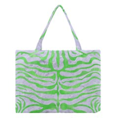 Skin2 White Marble & Green Watercolor (r) Medium Tote Bag